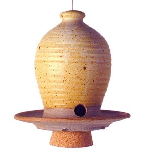 Beehive-Hanging-Bird-Seed-Feeder-Hand-thrown-Weatherproof-Stoneware-Pottery-Butternut-Color-0-2