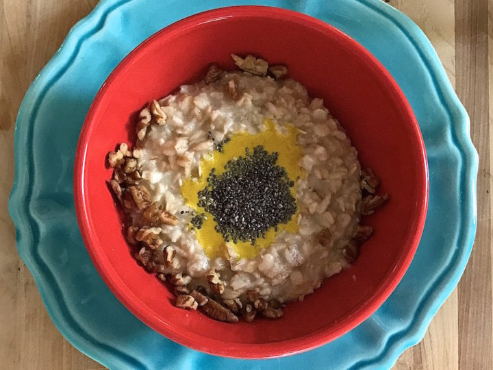 Oatmeal, Turmeric Milk and Chia Seeds