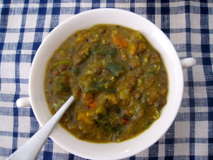 Curried 3-Lentil Vegetable Soup with rainbow chard ribbons